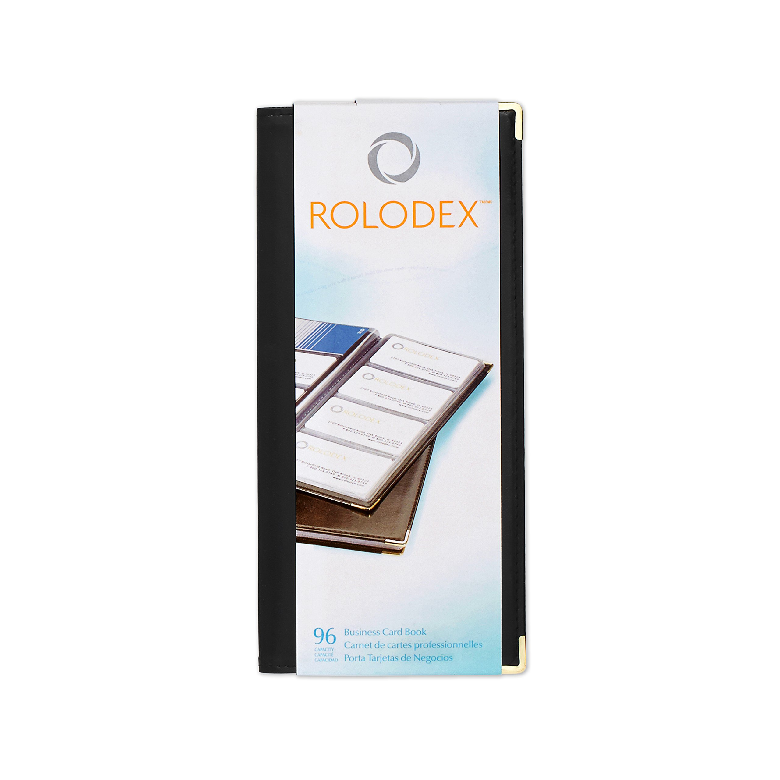 Rolodex Business Card Book 96-Card, Black and Gold (67473)