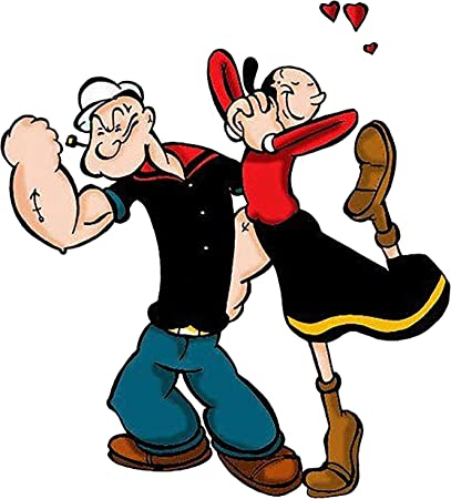 """6/"""" Popeye olive oyl oil love heart set fabric applique iron on character"""