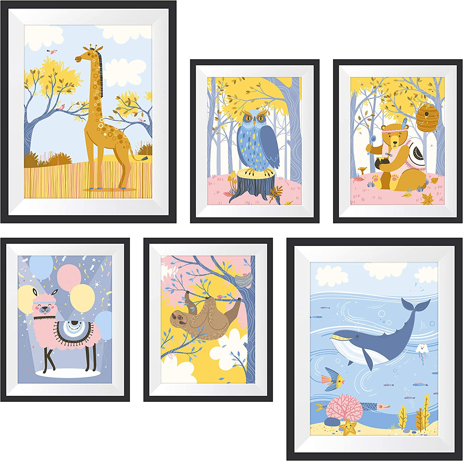 Mammacita Nursery Wall Art A4 and A3 Photo Frames for Kids Set of 6 Animal Posters Fun and Colorful Prints Pictures for Baby Room Baby Shower Accessories for Boys and Girls