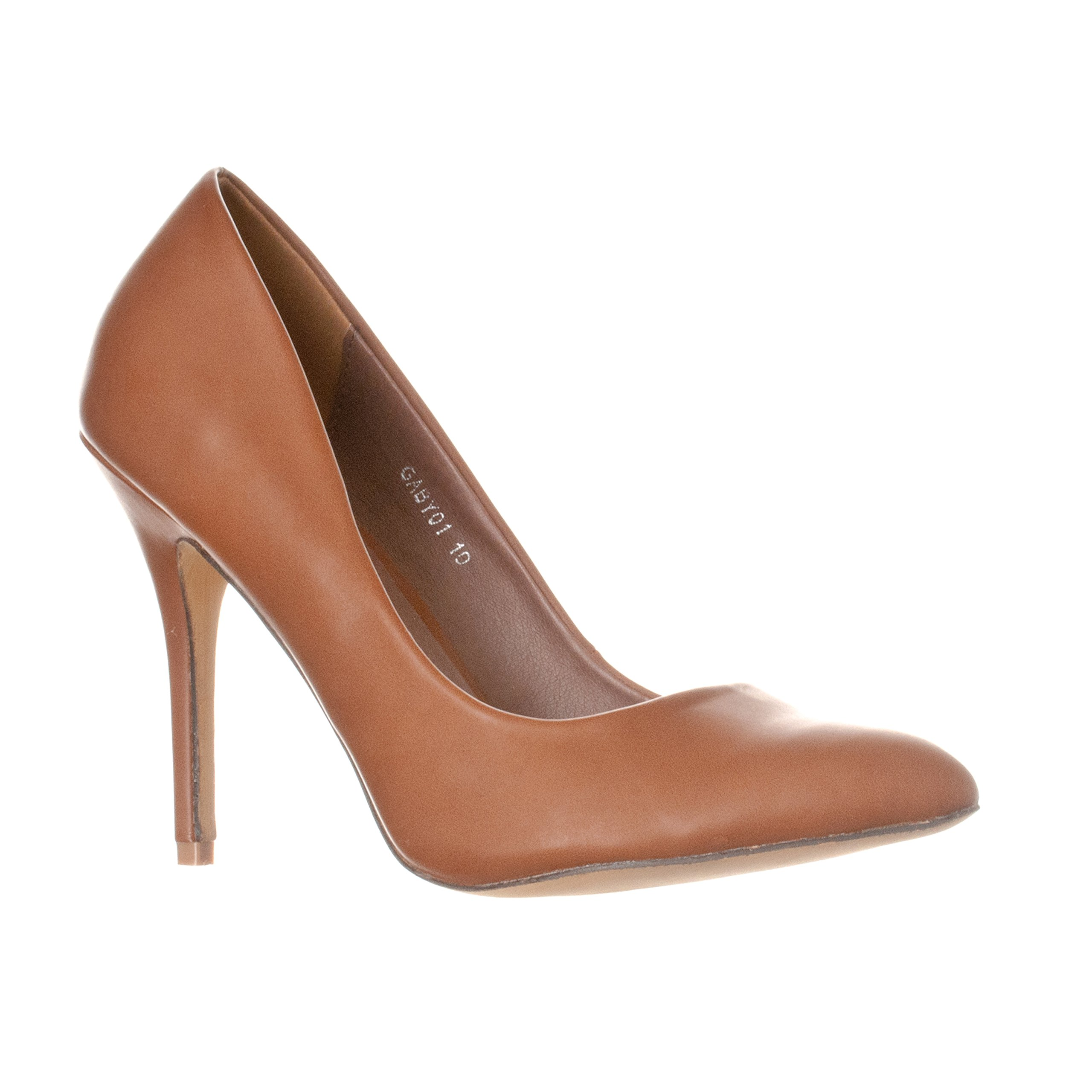 Riverberry Women's Gaby Pointed, Closed Toe Stiletto Pump Heels, Brown PU, 8.5