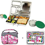 PlanetBox ROVER Eco-Friendly Stainless Steel Bento Lunch Box with 5 Compartments for Adults and Kids (Rainbow Carry Bag with Rainbow Magnets)
