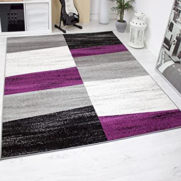 Wohnzimmer Teppich Modern Geometrisches Muster Meliert In Lila Grau Weiß  Schwarz 120x170 Cm