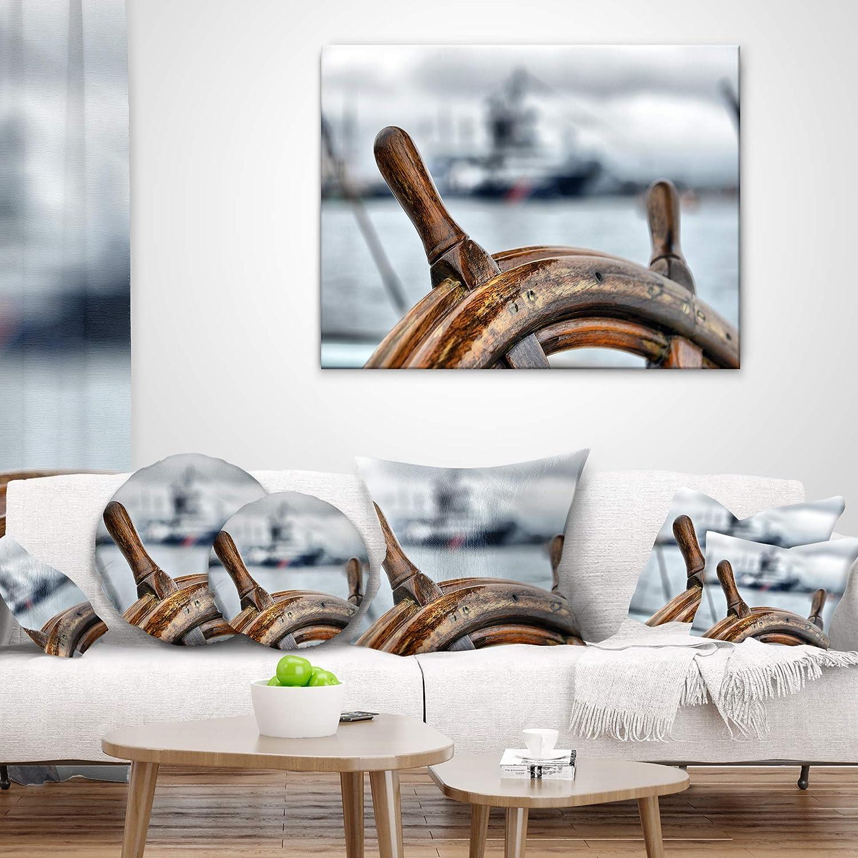Designart CU9660-16-16-C Steering Wheel Sailboat Landscape Photography Throw Pillow 16