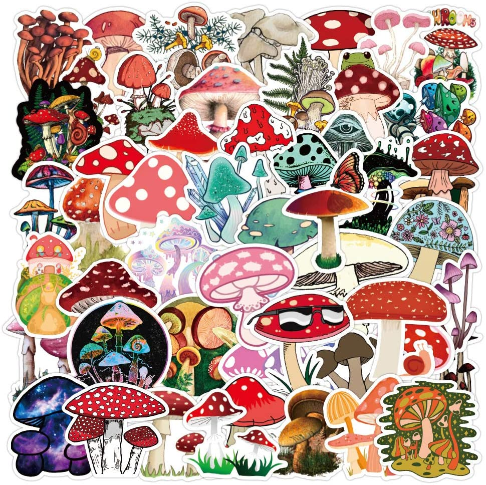 50pcs Cute Mushroom Stickers for Water Bottle,Vinyl Waterproof Stickers and Decals for Laptop Scrapbook Skateboard Bicycle Car Phone,Mushroom Gifts for Adults Teens Girls Boys