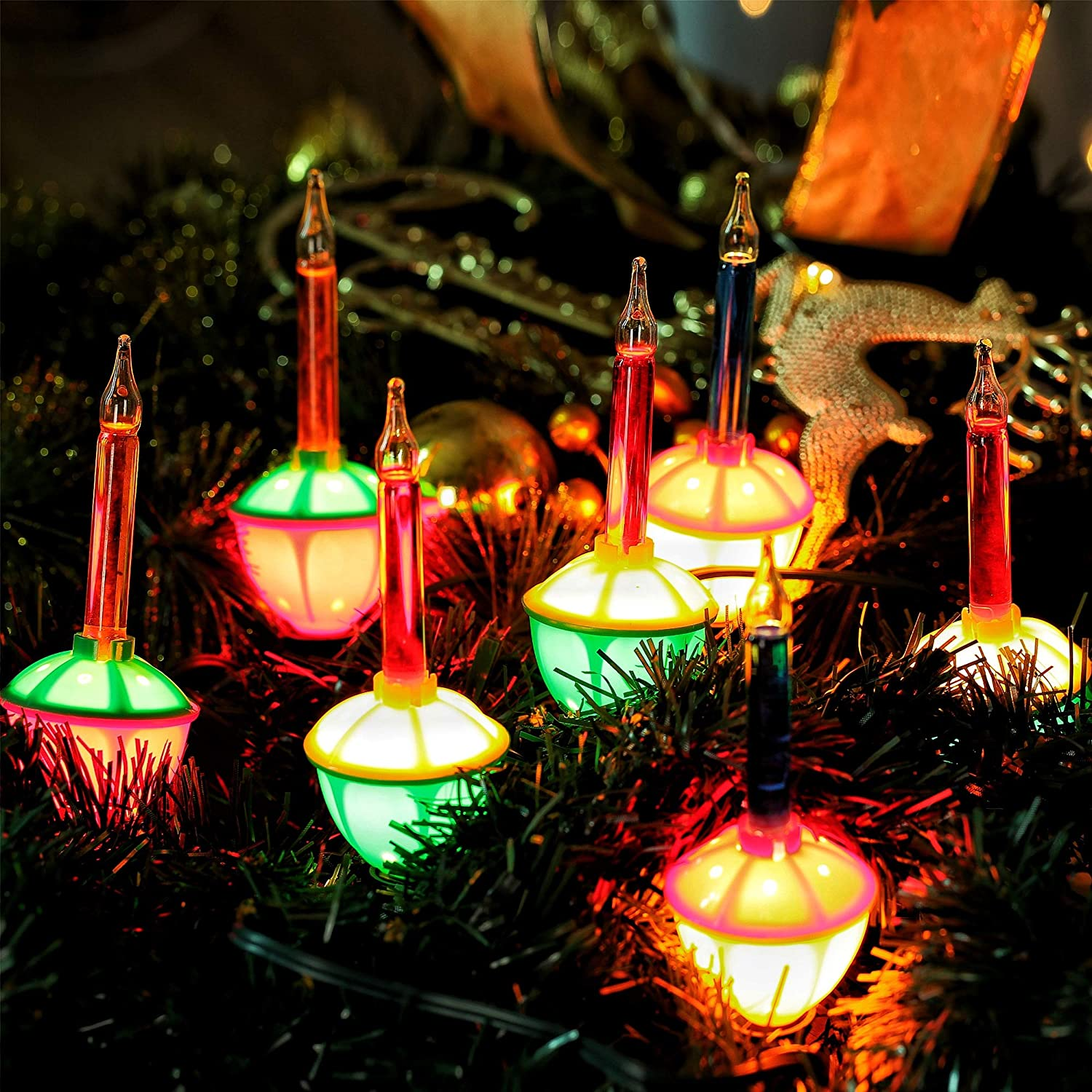 7 Pack Replacement Bubble Lights Bulbs Multi-Color Bubble Fluid Lights Bulbs and Blue Orange Vintage Christmas Lights for Xmas Christmas Tree Decorations Red C7//E12 Candelabra Base