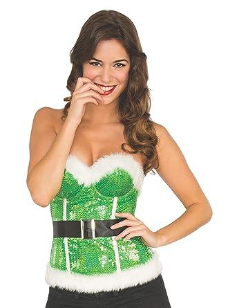 7dedf5b6aa Amazon.com  Rubie s Costume Co Women s Deluxe Sequin Santa s Corset ...