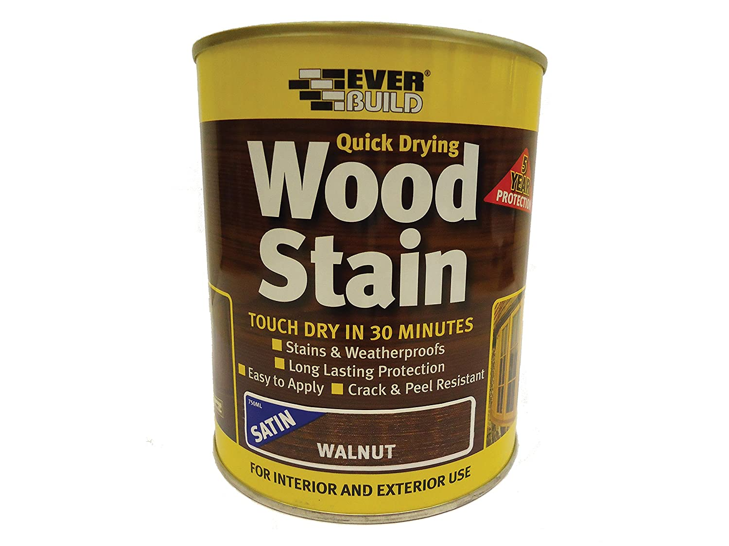 Everbuild EVBWSWN750 Quick Dry Wood Stain Satin Walnut 750 ml Toolbank
