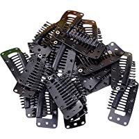 Sungpunet 20pcs 10 Teeth Snap-Comb Wig Clips with Rubber Back Black