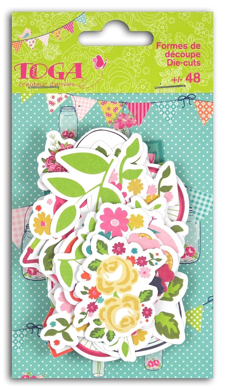 Toga fpd128un Domenica alla campagna–Set di 48forme/Parole die-cuts taglio carta rosa/verde/giallo/blu 8, 5x 15, 5x 1cm