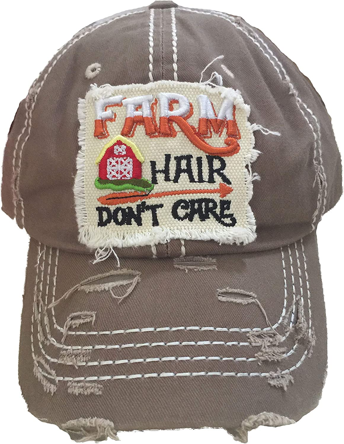 4350 DISTRICT Farm Hair Don't Care Women's Distressed Baseball Hat