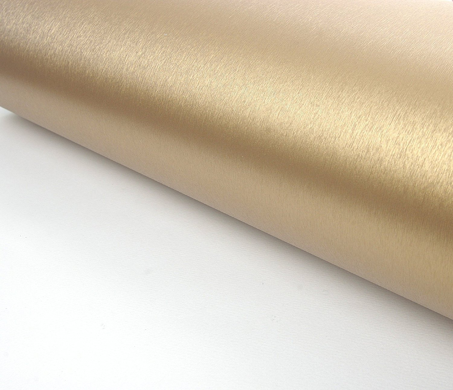 Brushed Metal Texture Contact Paper Film Vinyl Self Adhesive Peel-stick Removable (Gold) Very Berry Sticker COMIN18JU074777