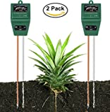 Soil Moisture Meter By Yinat Light and PH / Acidity Meter Plant Tester for Houseplants, Outdoor Plants, Bonsais, Succulents, Trees, Grass and Lawn - 2 Pack (No Battery Require
