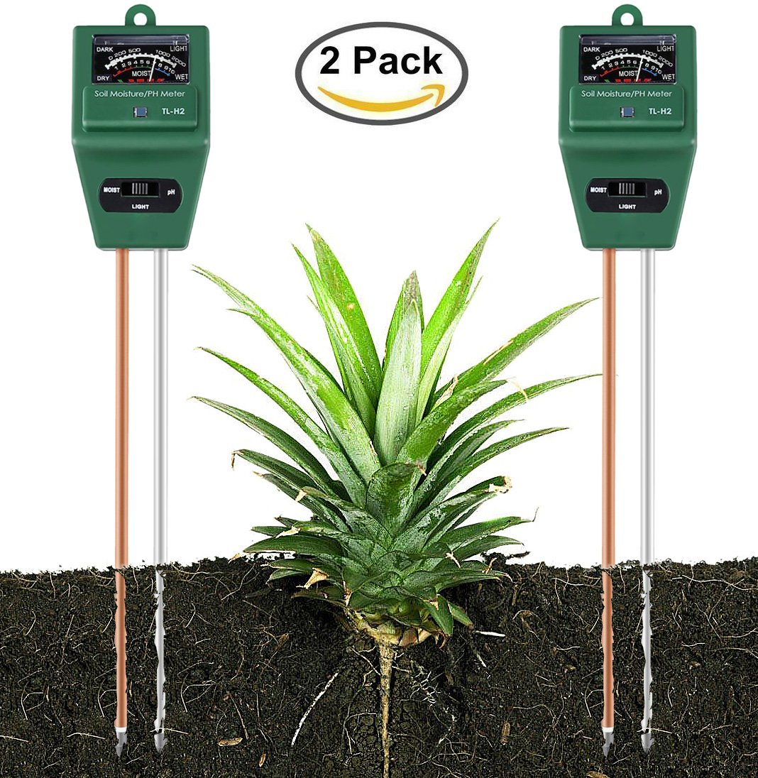 Yinat Soil Moisture Meter By Light and PH/Acidity Meter Plant Tester for Houseplants, Outdoor Plants, Bonsais, Succulents, Trees, Grass and Lawn - 2 Pack (No Battery Require