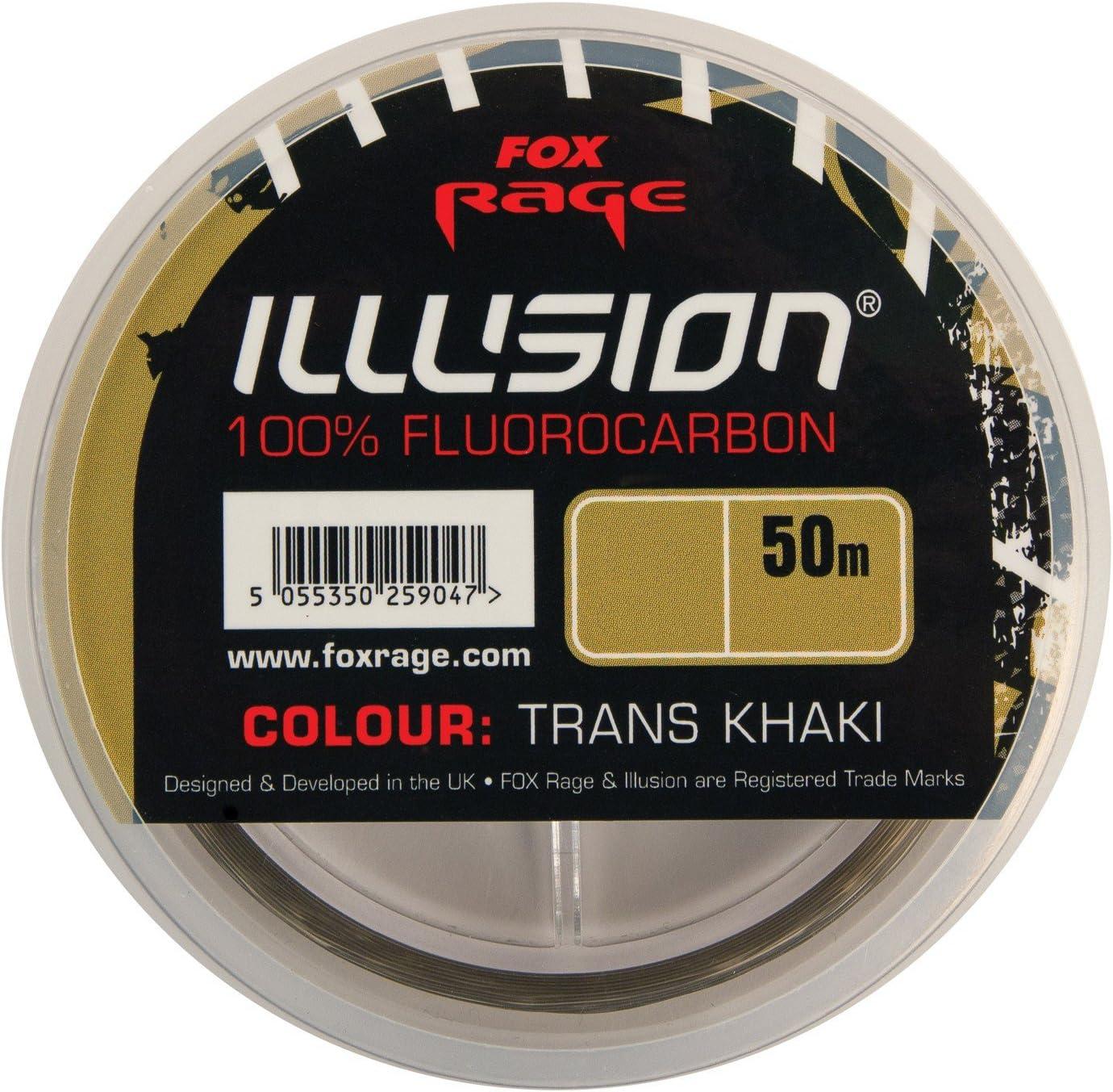 Raubfischschnur Fox Rage Illusion Fluorocarbon Trans Khaki 50m Vorfachschnur Raubfischrigs 50 Meter Durchsichtig Tarnung Transparent 10lb 8lb Raubfischangeln