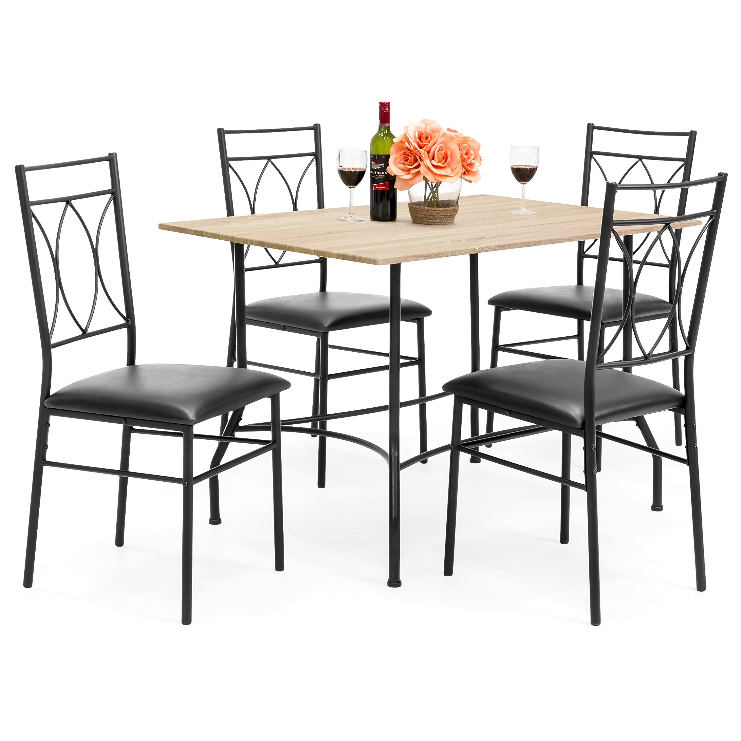 Best Choice Products 5-Piece Dining Set w/ Wood Table, Metal Chairs, Faux Leather Seats - Black
