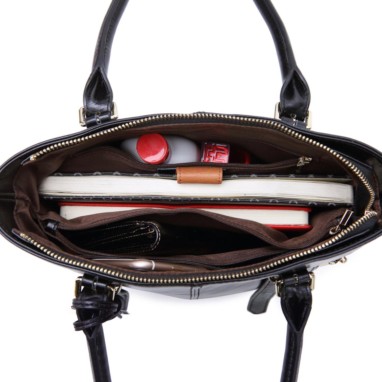 Yafeige Womens Leather Shoulder Handbags Satchel Tote Top Handle Bags Crossbody Handbag Purse for Ladies(Black) by Yafeige (Image #5)
