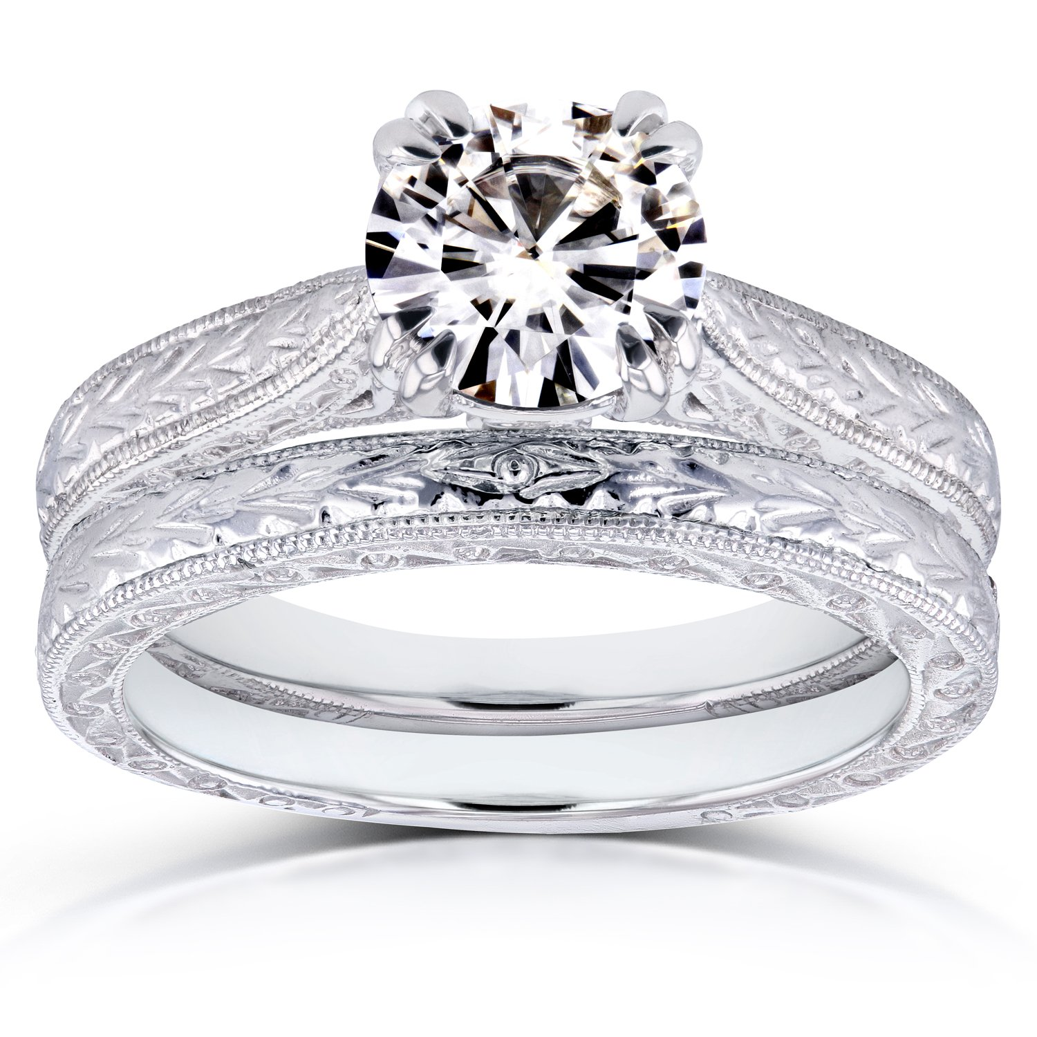 Moissanite and Diamond Accent Antique Engraved Bridal Rings Set 1 CTW 14k White Gold