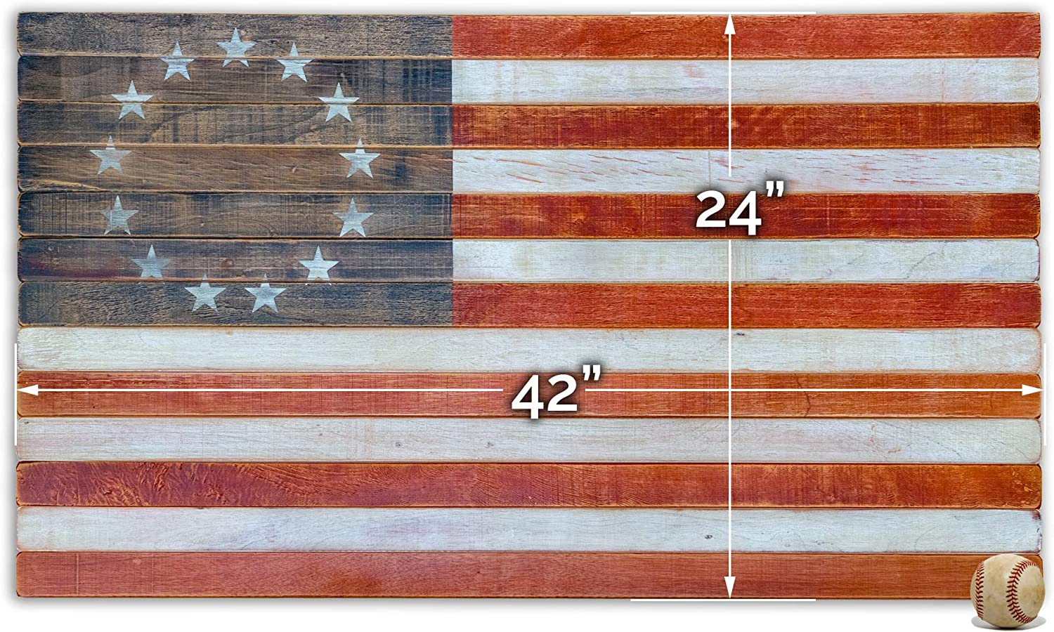 Betsy Ross Flag Vintage American Flag Art - Wooden Wall Décor - High Quality Made in USA American Echoes (42