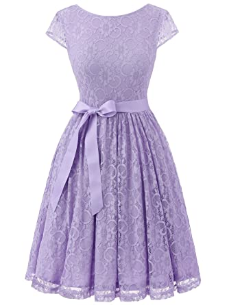 IVNIS RS90033 Womens Vintage Lace V Back Bridesmaid Party Dress Short Prom Dress Cap Sleeve Lavender