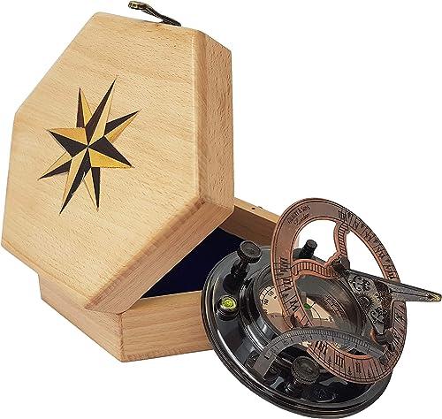Brass Nautical – Handmade Brass Sundial Compass in Gift Box Sun Dial Watch Navigation Brass Wood