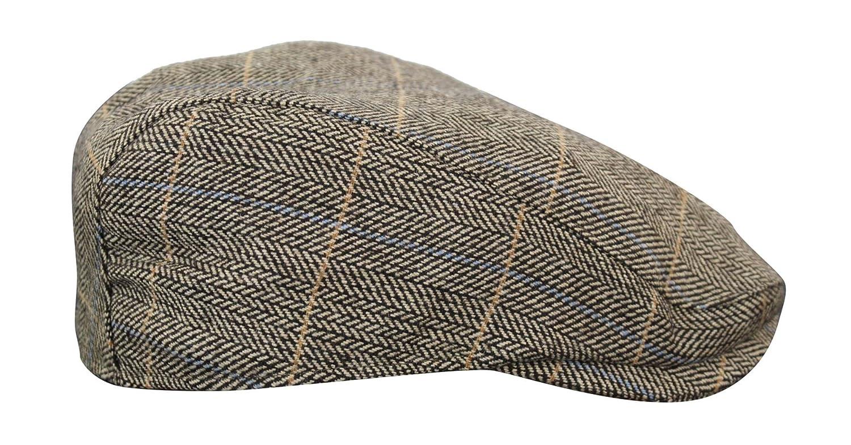 Cavani Berretto Elegante da Uomo in Tweed Motivo a Scacchi Retro Vintage