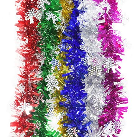 6pcs color holiday party ceromony hanging luxury chunky cut tinsel garland christmas decorations ornaments length