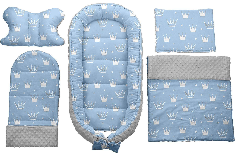 Babynest Babybett Babynestchen Reisebett Decke Kopfkissen 5 in1 Sweet Nap Dunkelblau-Blau Kronen 107
