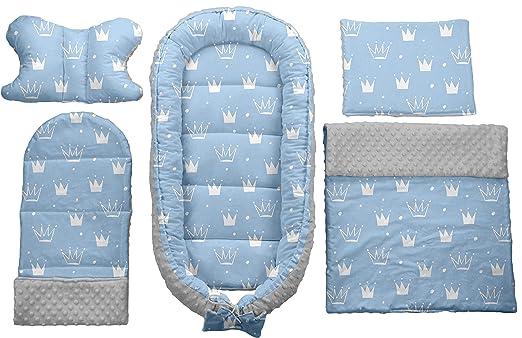 Dunkelblau-Blau Kronen Babynest Babybett Babynestchen Reisebett Decke Kopfkissen 5 in1 Sweet Nap 107