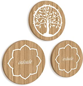 Meditation Decor Set of Wooden Plaques with Tree of Life Wall Decor and Inhale Exhale Lotus Flower Motif, Zen Decor Wall Art Ideal as Yoga Decor or Spiritual Boho Room Decoration // Decorada