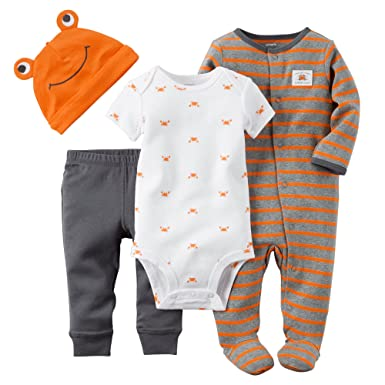 Carters Baby Boys 4-Piece Take Me Home Set (Newborn, Orange Crab)