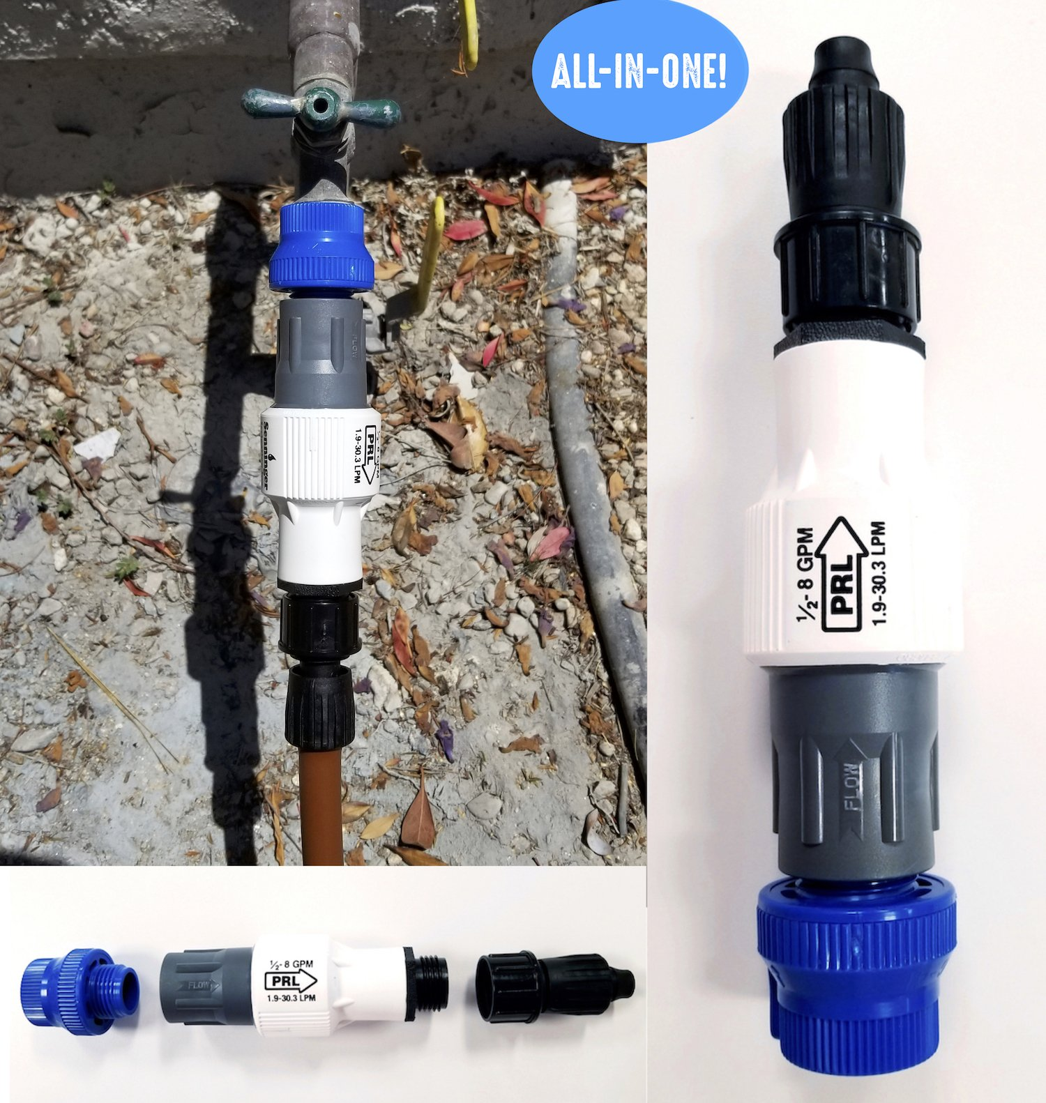 Drip Irrigation Faucet Adapter Kit: Connect Any 1/2'' Tubing to Faucet or Garden Hose - Includes Backflow Preventer with Filter, Pressure Regulator & Universal Adapter Coupling - No Assembly Required