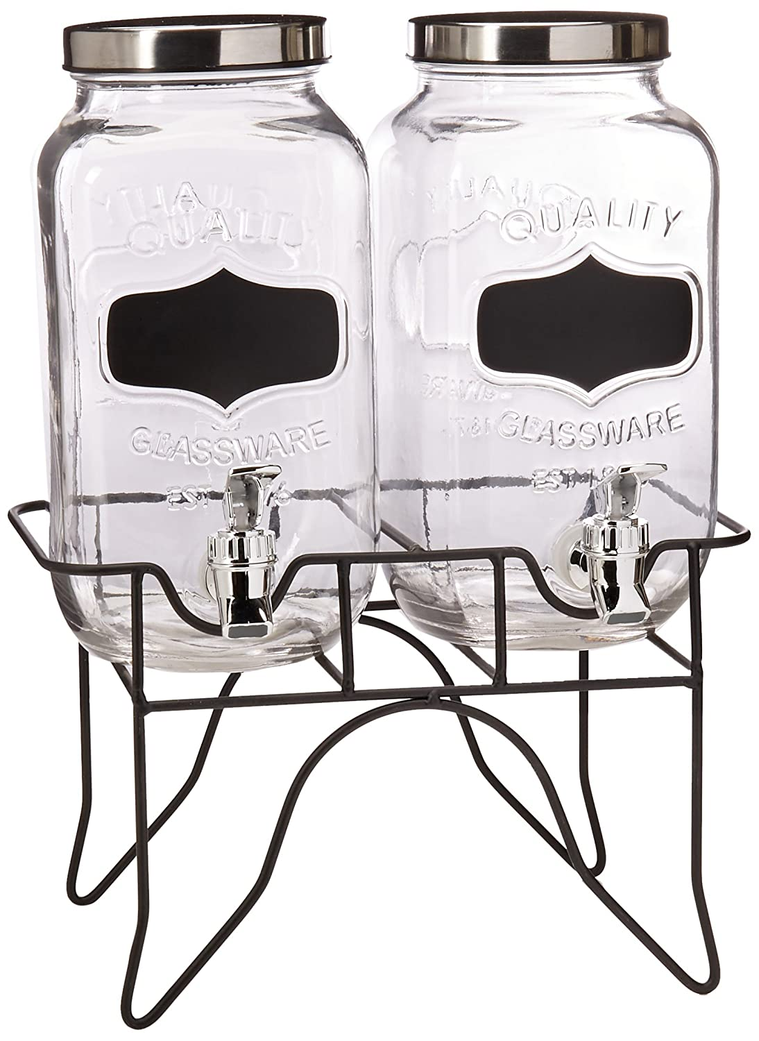 Style Setter Blackboard Beverage Dispenser Set with Stand, Clear Jay Imports 210838-GB