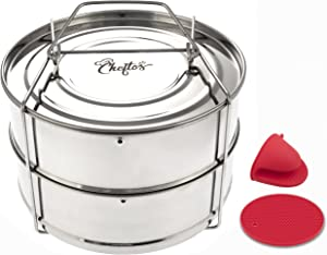 CHEFTOS Stackable Stainless Steel Pressure Cooker Insert Pans compatible with Instant Pot or Ninja Foodi Pressure Cooker Accessories - Cook and Steam Tasty Pasta, Vegetables, Meat, Fish, Rice and More
