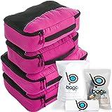 Packing Cubes 4pcs Value Set for Travel - Plus 6pcs Luggage Organiser Zip Bags (Pink)