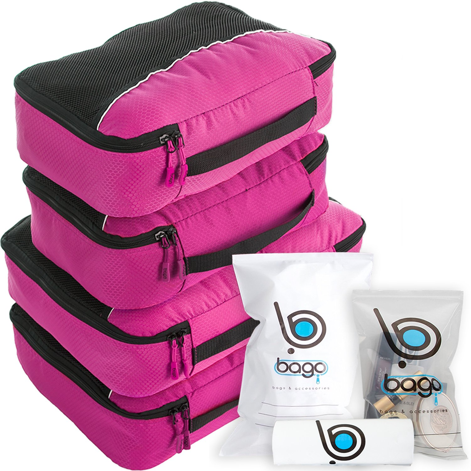 Packing Cubes 4pcs Value Set for Travel - Plus 6pcs Organizer Zip Bags ((L) DBlueOrance(M) PurpleOrange)