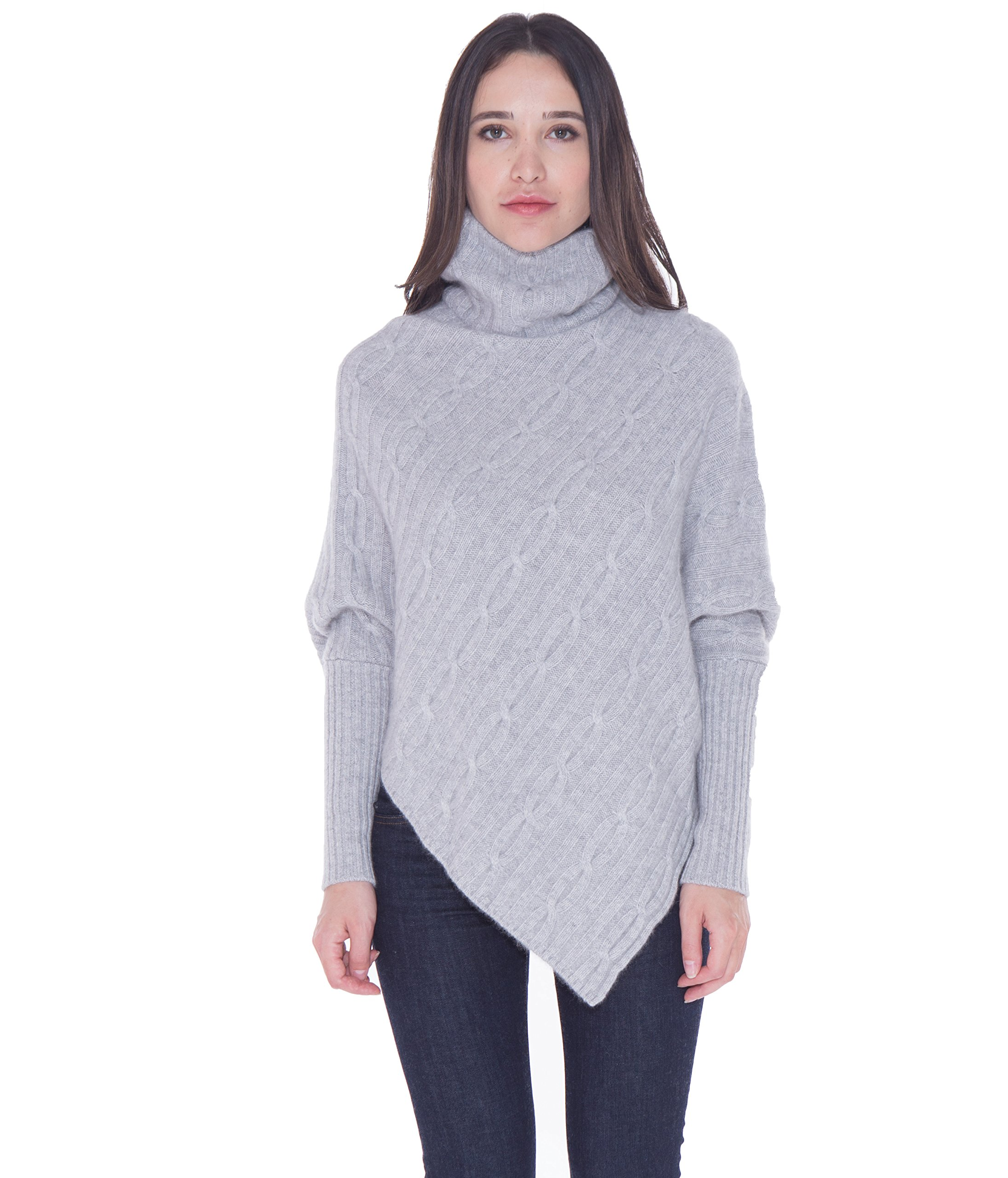 cashmere 4 U 100% Cashmere Poncho Thick Cable Knit Turtleneck Open Side Sweater For Women by (Argent)