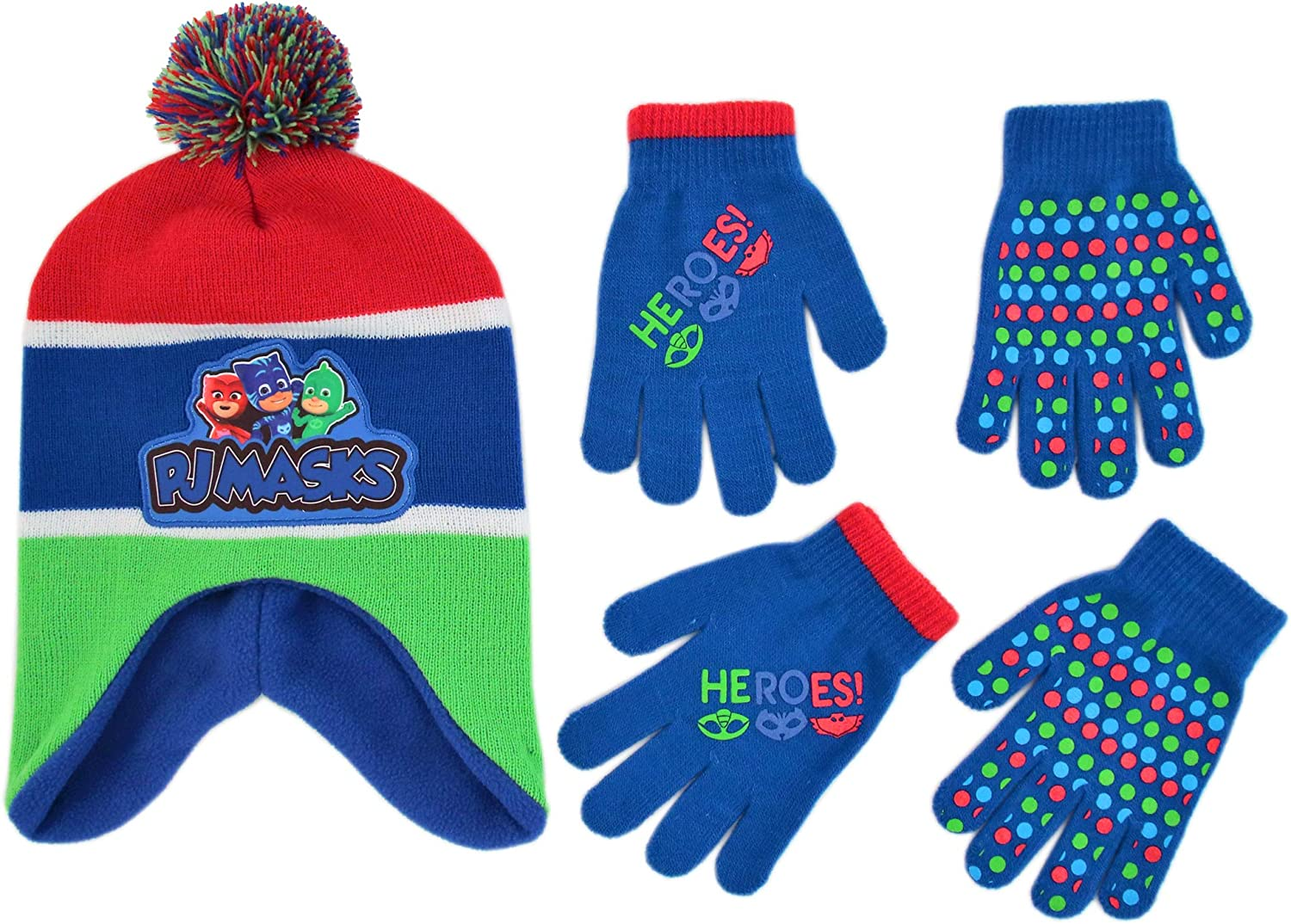 PJ Masks Winter Hat and 2 Pair of Gloves or Mittens Set (Age 2-7): Clothing