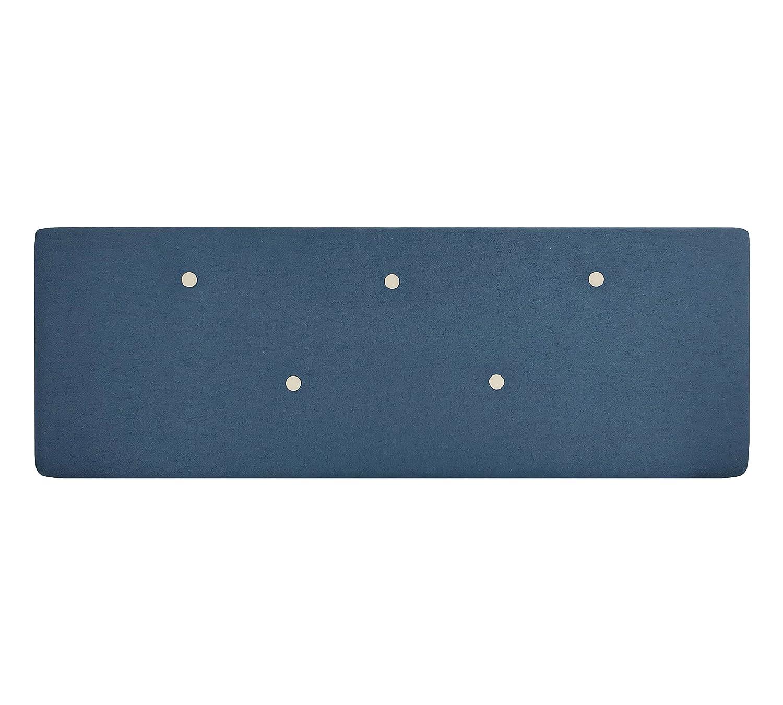 SERMAHOME Cabecero Alicante tapizado tela color Azul Oscuro botón Beige. Medidas: 160 x 55 x 7 cm (camas 135, 150 y 160 cm).: Amazon.es: Hogar