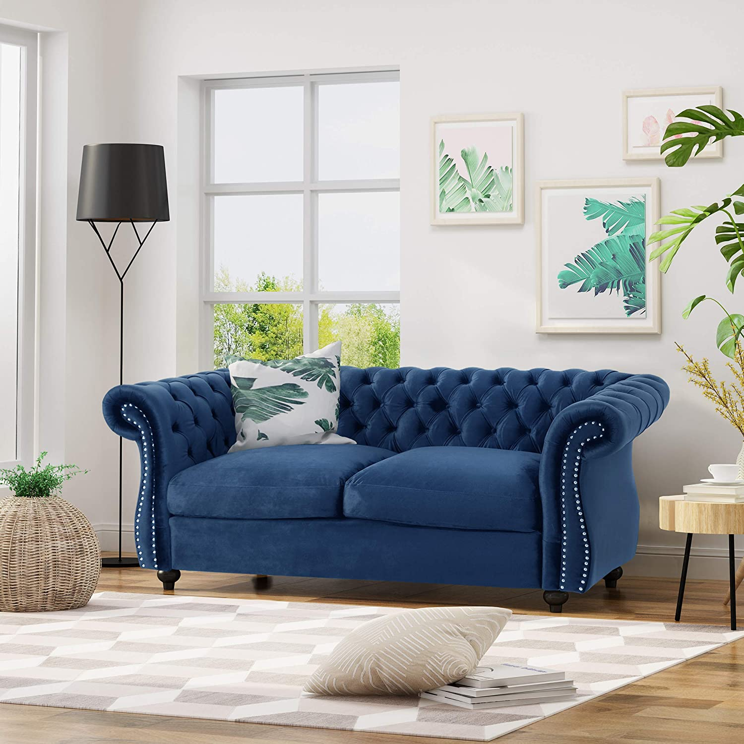 Chesterfield Loveseat Sofa, Navy Blue and Dark Brown