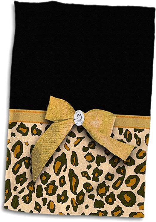 Naanle African Animal Leopard Pattern Soft Highly Absorbent Guest Large Home Decorative Hand Towels Multipurpose for Bathroom Gym and Spa 16 x 30 Inches Hotel