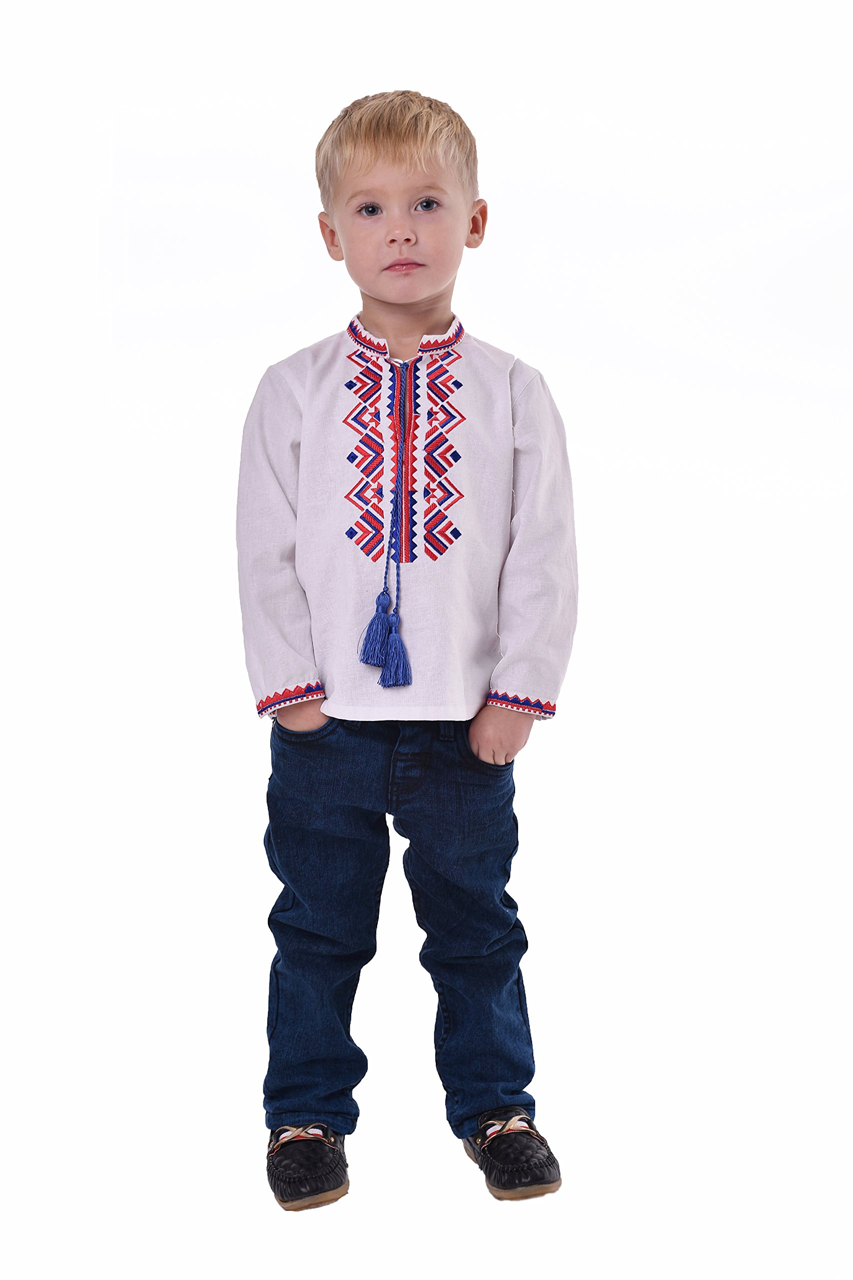 Boys Shirts With Embroidery. Ukrainian Vyshyvanka. Children's Traditional Ukrainian Shirts With Collar For Boys. (4.5-5 Years)