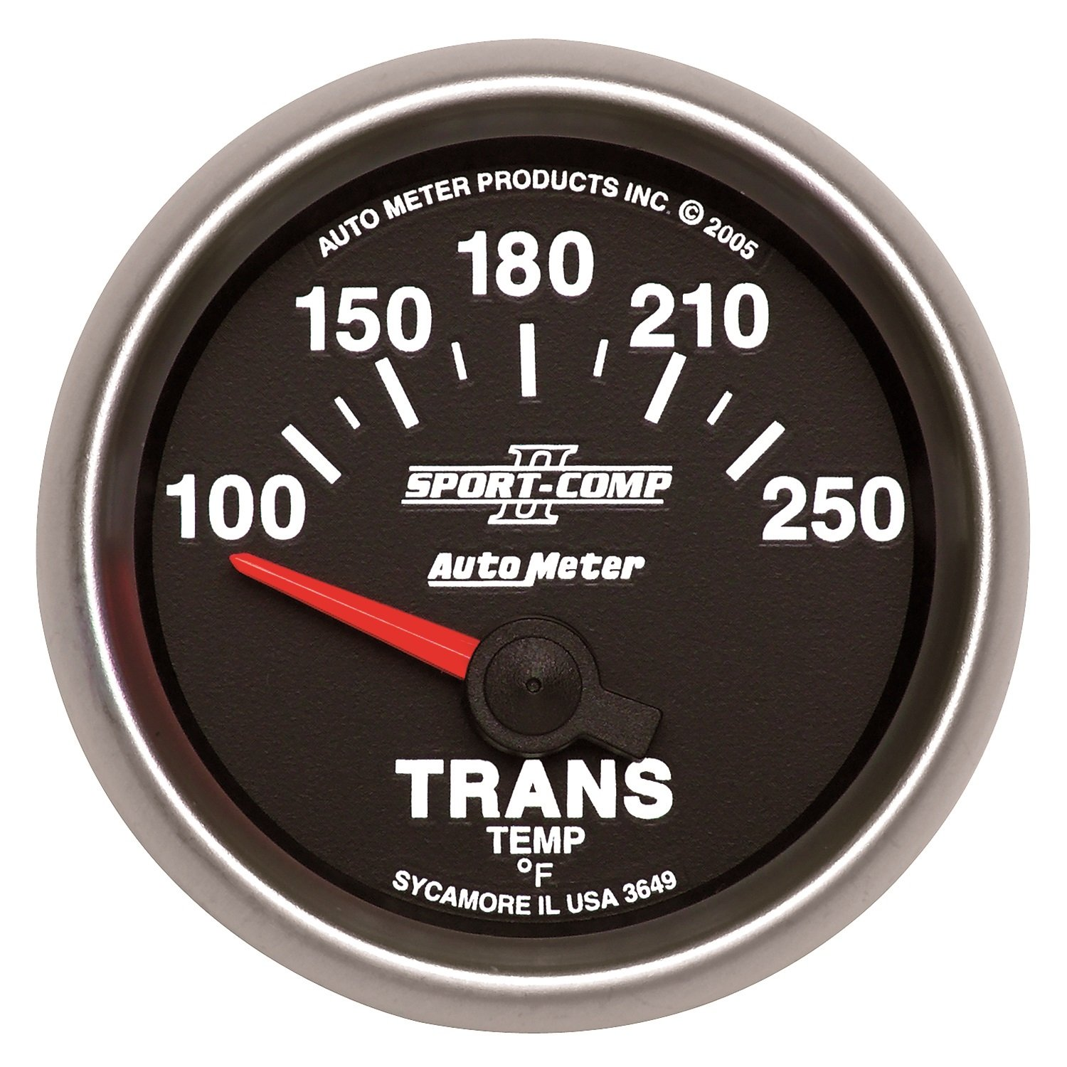 Auto Meter 3649 2-1/16'' 100- 250 F Short Sweep Electric Transmission Temperature Gauge by Auto Meter