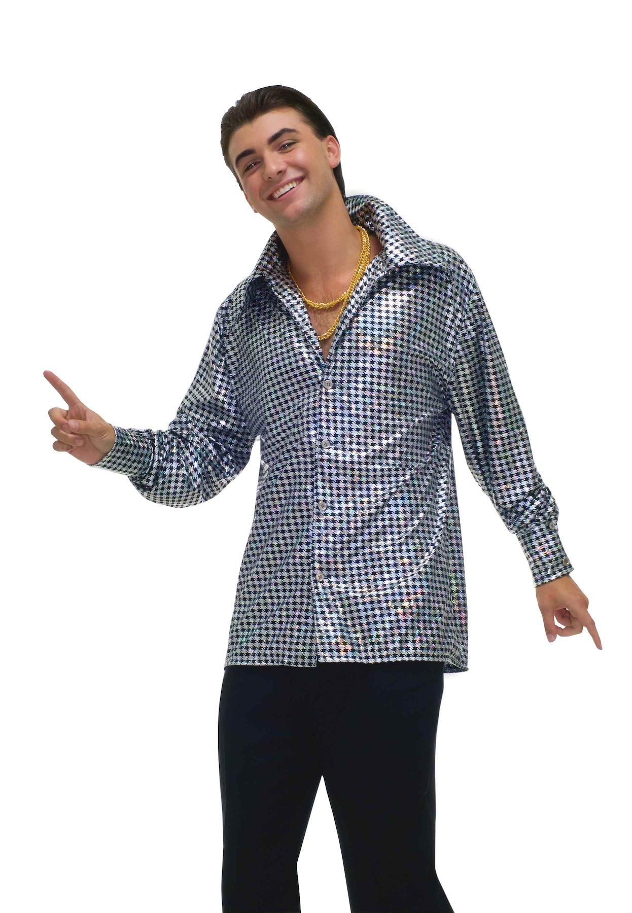 Forum Novelties Men's 70's Disco Fever Hustling Hunk Costume Shirt, Black//White, Standard
