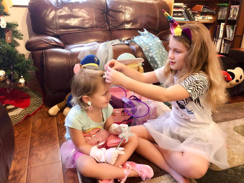 Toiijoy Girls Dress up Trunk,Princess,Fairy,Mermaid,Ballerina,Bride,Pop Star,Witch,Hero Costume for Little Girls Pink