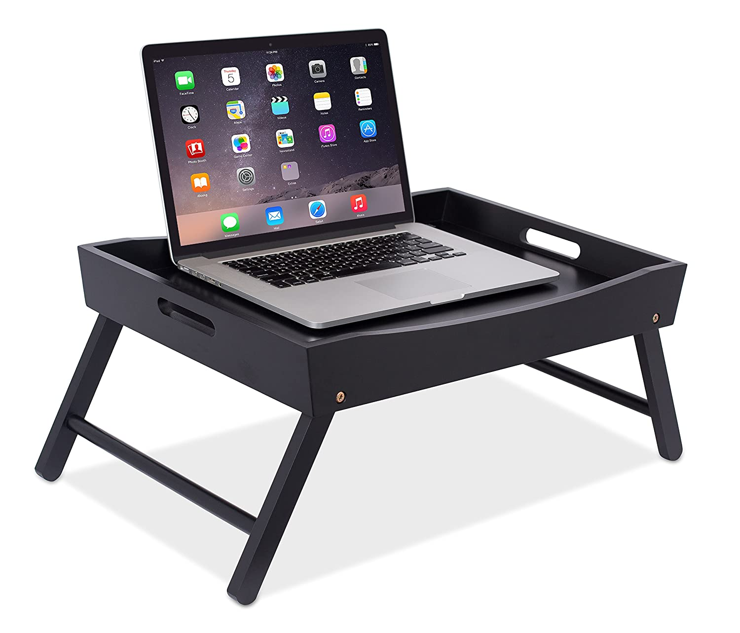 BIRDROCK HOME Wood Bed Tray with Folding Legs - Wide Breakfast Serving Tray Lap Desk with Sides and Handles - Black