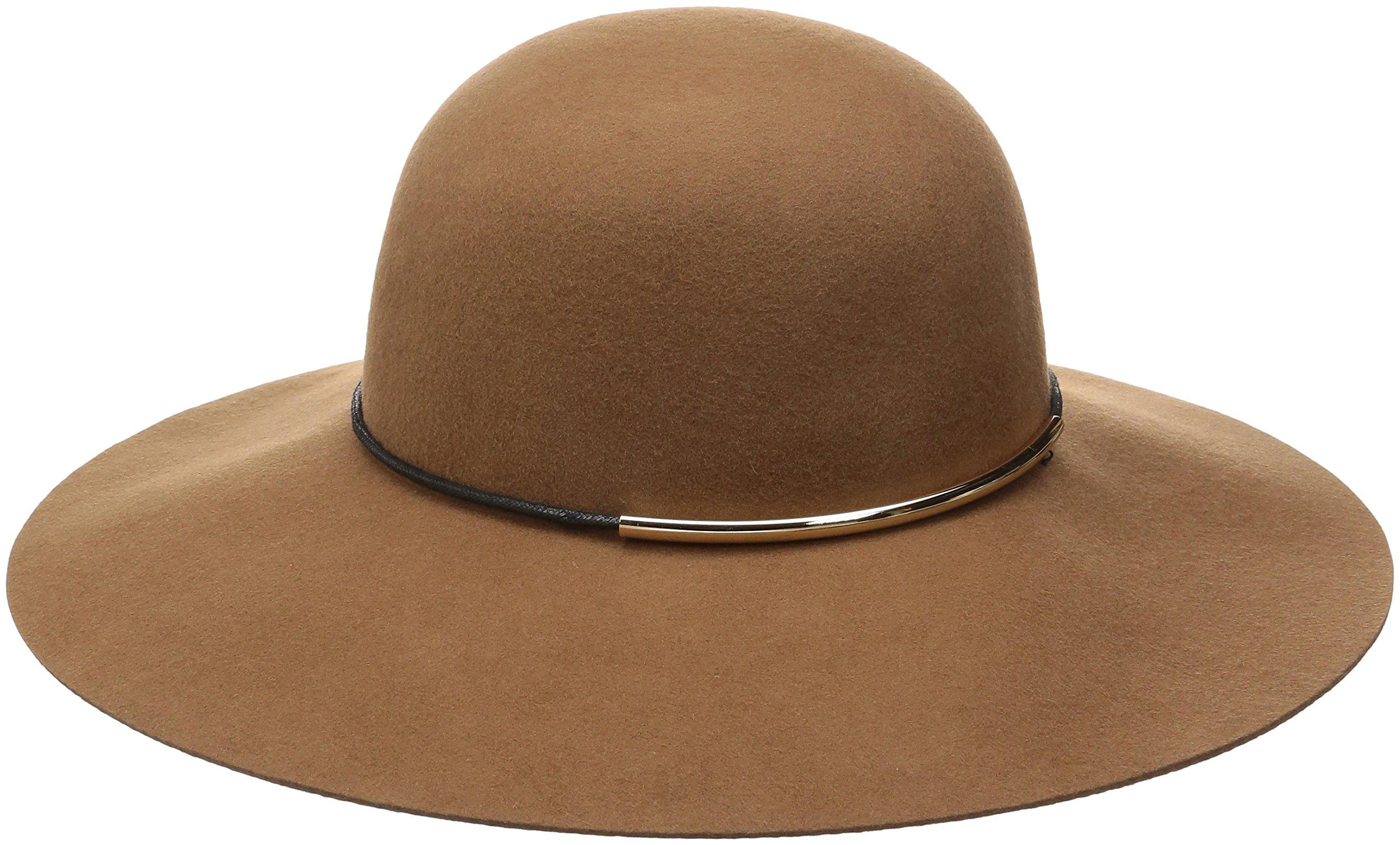 Nine West Women's Felt Floppy Hat with Metal Tube, Pecan, One Size