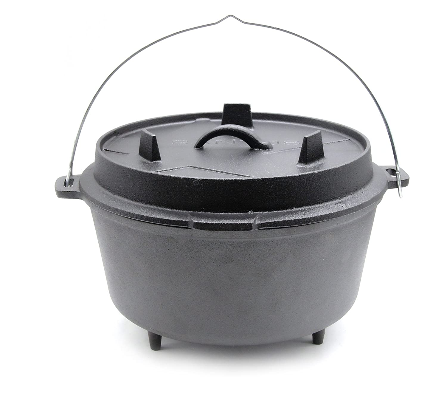 Santos cast iron dutch oven, 8.5 litres, 6-8 people, approx.9 qt. with feet fire pot casserole, camp oven for gas grill, coal grill, and open fire Santos (Dutch Oven)