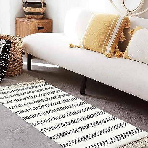 Cotton Area Rug 2 x 4.3 LEEVAN Tassel Door Mat Cotton Line Indoor Floor Mat Bohemian Hand Woven Geometric Carpet Chic Printed Bedside Rug