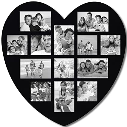 Adeco 13 Opening Decorative Wood Heart Shaped Wall Hanging Picture