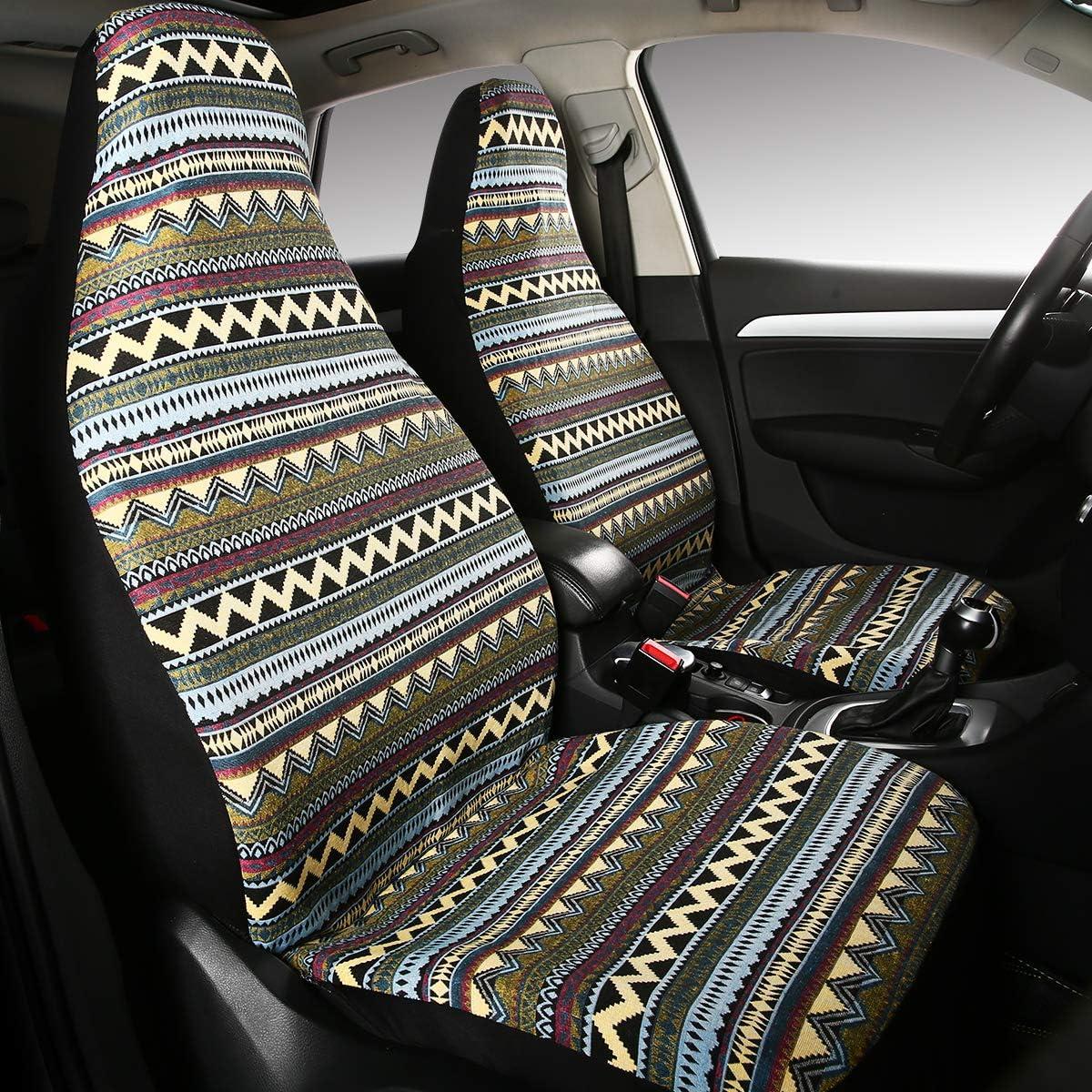bohe10 AUTOJING Boho Flax Seat Covers for Car 5 Seats Full Set Universal Fit-